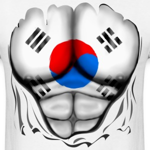 South Korea Flag Ripped Muscles, six pack, chest t-shirt - Men's T-Shirt