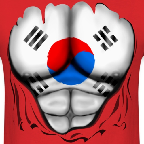 South Korea Flag Ripped Muscles, six pack, chest t