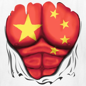 China Flag Ripped Muscles, six pack, chest t-shirt - Kids' T-Shirt
