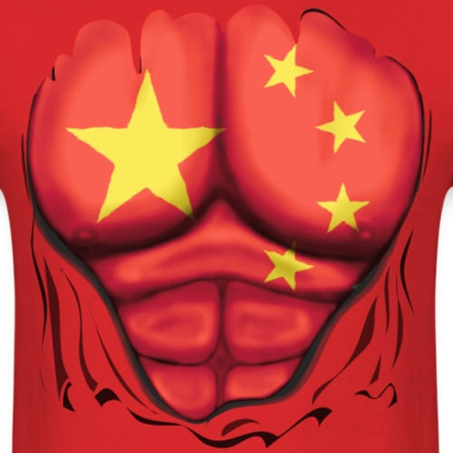 China Flag Ripped Muscles, six pack, chest t-shirt