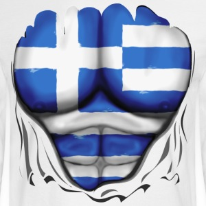 Greece Flag Ripped Muscles, six pack, chest t-shirt - Men's Long Sleeve T-Shirt