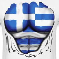 Design ~ Greece Flag Ripped Muscles, six pack, chest t-shirt