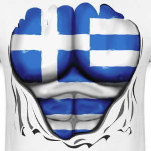 Greece Flag Ripped Muscles, six pack, chest t-shirt - Men's T-Shirt