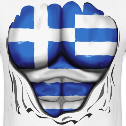 Greece Flag Ripped Muscles, six pack, chest t-shir