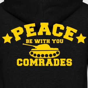 PEACE BE WITH YOU COMRADES with a star and a tank Zip Hoodies/Jackets - Unisex Fleece Zip Hoodie by American Apparel