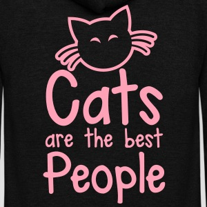 CATS are the best people! with cute little kitty cat and whiskers Zip Hoodies/Jackets - Unisex Fleece Zip Hoodie by American Apparel