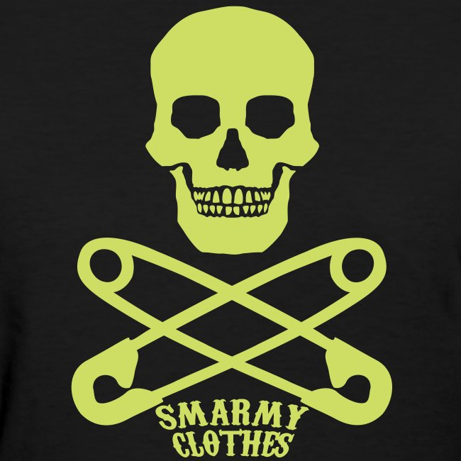 lime sparkle print Skull n Safety Pins SmarmyClothes tee