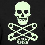 Design ~ glow in the dark Skull n Safety Pins SmarmyClothes tee