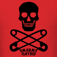 Design ~ mens Skull n Safety Pins SmarmyClothes tee