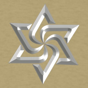 "Rael Star, digital silver, variant of Swasika (""Svasti"" - happiness, Salvation) - happiness symbol T-Shirts - Men's T-Shirt"