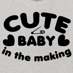 cute baby in the making with a safety pin for a young one  Sweatshirts