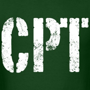 CPT army rank white distressed print - Men's T-Shirt