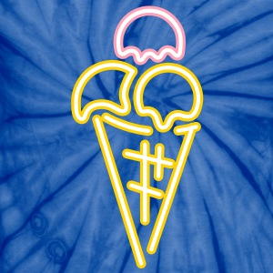 Neon sign scoops of ice cream with waffle T-Shirts - Unisex Tie Dye T-Shirt