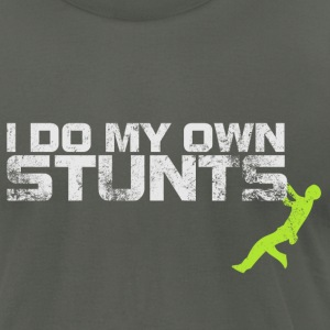 I Do My Own Stunts (green accent) - Men's T-Shirt by American Apparel