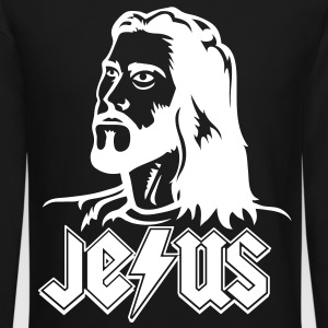 Rockin' JEϟUS (White) - Long Sleeve - Crewneck Sweatshirt