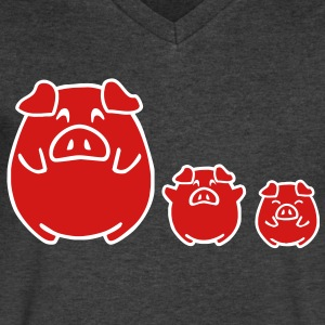 three cute pigs T-Shirts - Men's V-Neck T-Shirt by Canvas