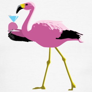 Pink Flamingo Drinking A Martini - Men's Ringer T-Shirt