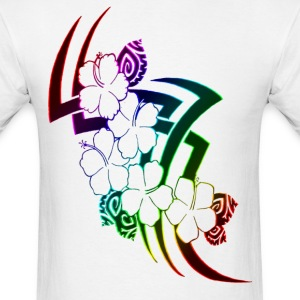 Neon Rainbow Tribal Flowers - Men's T-Shirt