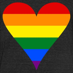 Gay Pride Rainbow Heart Funky Men's Tri-Blend Vintage T-Shirt by American Apparel - Unisex Tri-Blend T-Shirt by American Apparel
