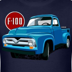 Illustration of a second generation blue Ford F-100