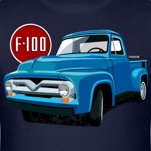 Illustration of a second generation blue Ford F-100 - Men's T-Shirt