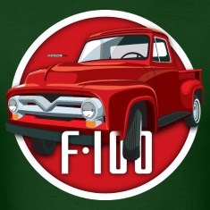Illustration of a second generation red Ford F-100