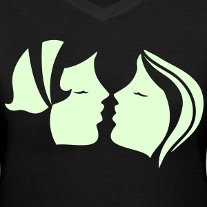 two women kissing! Women's T-Shirts - Women's V-Neck T-Shirt