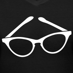 retro funky seeing eye cat eyes glasses librarian Women's T-Shirts