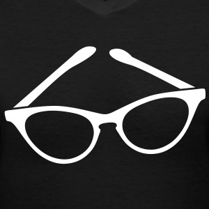 retro funky seeing eye cat eyes glasses librarian Women's T-Shirts - Women's V-Neck T-Shirt