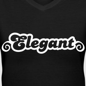 elegant with curls Women's T-Shirts - Women's V-Neck T-Shirt