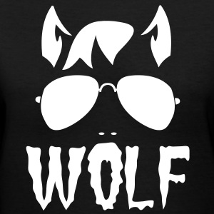 wolf face man with type and aviator sunglasses good halloween costume Women's T-Shirts - Women's V-Neck T-Shirt