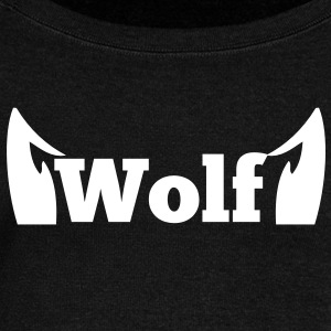 wolf in type with cute ears Long Sleeve Shirts - Women's Wideneck Sweatshirt