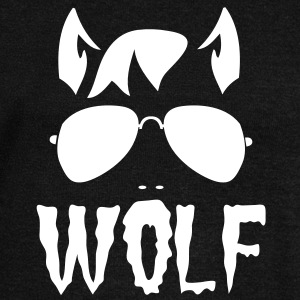 wolf face man with type and aviator sunglasses good halloween costume Long Sleeve Shirts - Women's Wideneck Sweatshirt