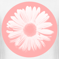 Design ~ Pink Beige Circled Flower Graphic Print Classic Cut T-Shirt