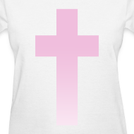 Design ~ PINK OMBRE CROSS - LADIES TSHIRT