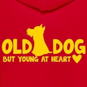 OLD DOG but young at heart! with puppy and hearts Zip Hoodies/Jackets - Unisex Fleece Zip Hoodie by American Apparel