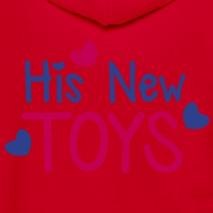 His new toys with cute little love hearts funny! Zip Hoodies/Jackets - Unisex Fleece Zip Hoodie by American Apparel