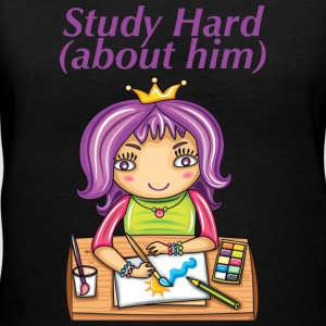 Study Hard about Him - Women's V-Neck T-Shirt