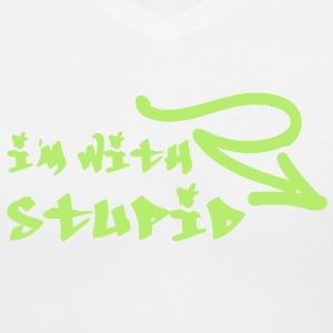 I'm With Stupid | Graffiti Writing | Funny Classic Joke for Cool Tshirts and Hoodie Sweaters! - Women's V-Neck T-Shirt
