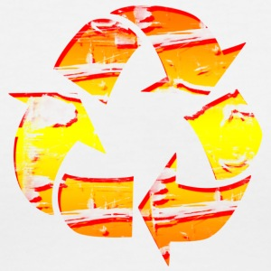 Recycle Graphic Design Picture Orange and Yellow - Women's V-Neck T-Shirt