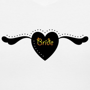 Bride Text Word Graphic Design Heart with Wings - Women's V-Neck T-Shirt