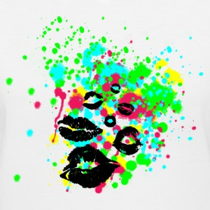 Paint Splatter Lip Kisses Graffiti Graphic Design - Women's V-Neck T-Shirt