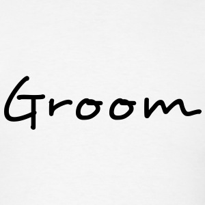 Groom Text Graphic | You can change the color of the Groom Graphic Text! - Men's T-Shirt