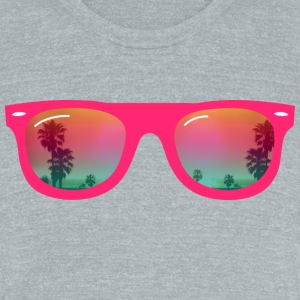sunglasses palms and beach T-Shirts - Unisex Tri-Blend T-Shirt by American Apparel