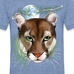 Midnight Mountain Lion - Unisex Tri-Blend T-Shirt by American Apparel