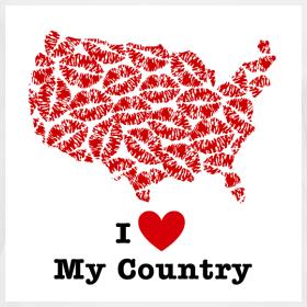 Design ~ I Love My Country USA V-Neck