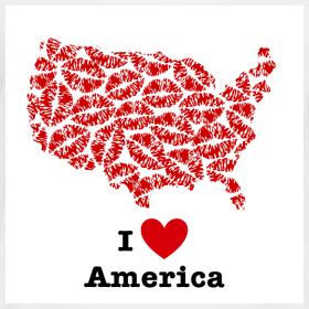 Design ~ I Love America V-Neck
