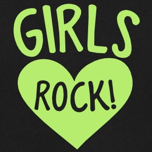 GIRLS rock hot chick shirt design with heart T-Shirts - Men's V-Neck T-Shirt by Canvas