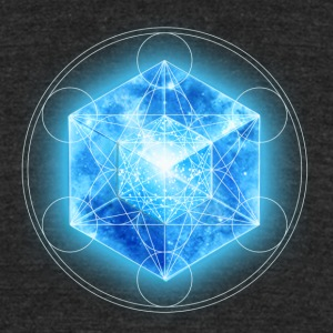 Metatrons Cube with TESSERACT, Hypercube 4D, digital, Symbol - Dimensional Shift,  T-Shirts - Unisex Tri-Blend T-Shirt by American Apparel