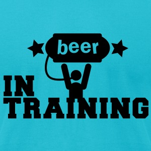 beer in training with lifting man and stars T-Shirts - Men's T-Shirt by American Apparel